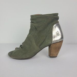 Fly London Green Leather Peep Toe Booties Size 7.5